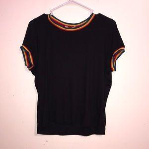 marci Tops - Rainbow Collar Black T Shirt